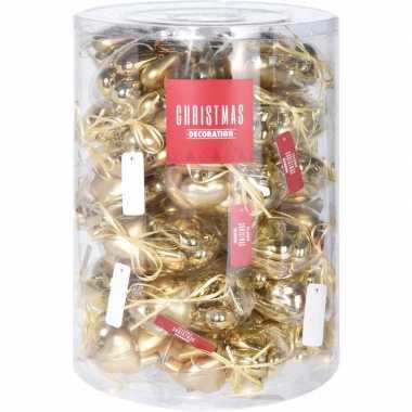 Gouden kerstdecoratie hartjes kerstballen 10 stuks