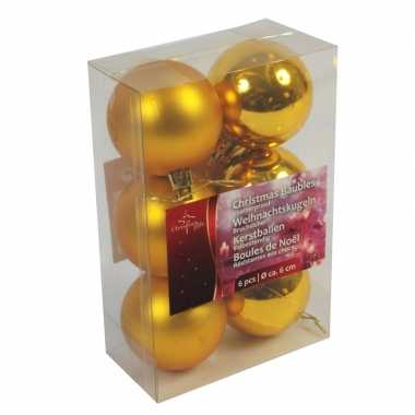 Gouden kerstdecoratie kerstballen set van kunststof 12 stuks