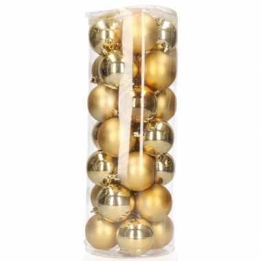 Gouden kerstversiering kerstballen 28 stuks 6 cm