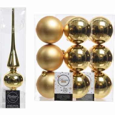 Gouden kerstversiering/kerstdecoratie set piek en 12x kerstballen 8 c