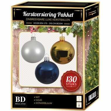 Gouden/witte/donkerblauwe kerstballen pakket 130-delig voor 180 cm boom