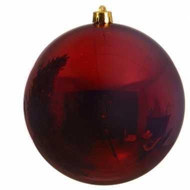 Grote raam/deur/kerstboom decoratie donker rode kerstballen 14 cm gla