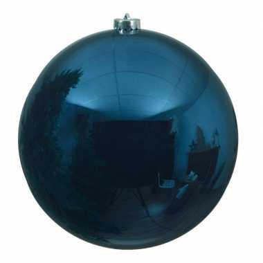 Grote raam/deur/kerstboom decoratie donkerblauwe kerstballen 20 cm glans