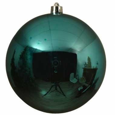 Grote raam/deur/kerstboom decoratie turquoise blauwe kerstballen 14 cm glans