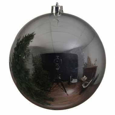 Grote raam/deur/kerstboom decoratie zilveren kerstballen 14 cm glans