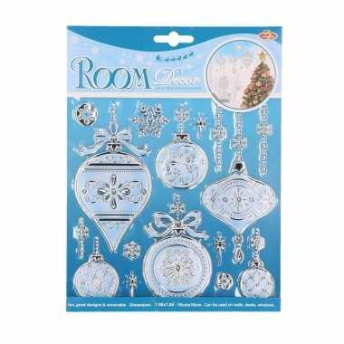 Kerst decoratie stickers kerstballen plaatjes 18 x 24 cm