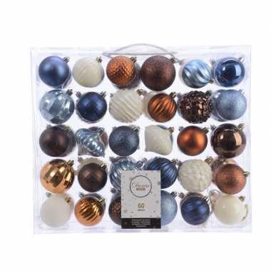 Kerst kerstballen mix 60 delig blauw/ koper/ bruin en wit