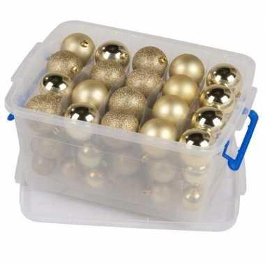 Kerstballen goud in box 70 stuks 4 / 6 / 8 cm