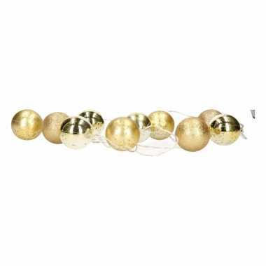 Kerstballen gouden kerstslinger met led lampjes