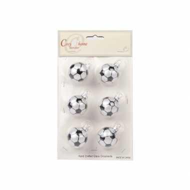 Kerstballen met voetbalprint 6 cm