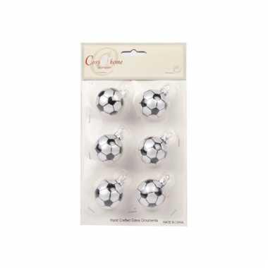 Kerstballen met voetbalprint 6 cm 10068196
