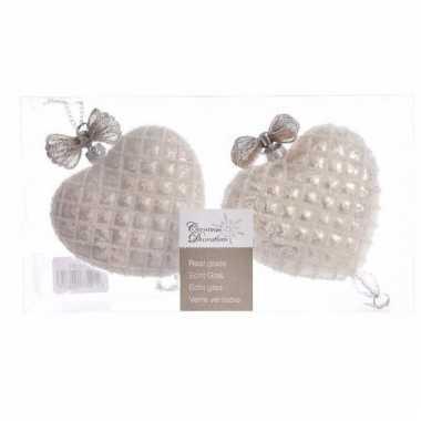 Kerstballen van glas in de vorm van hartjes 2 stuks zilver