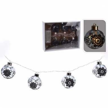 Kerstballen zwarte kerstslinger met led lampjes