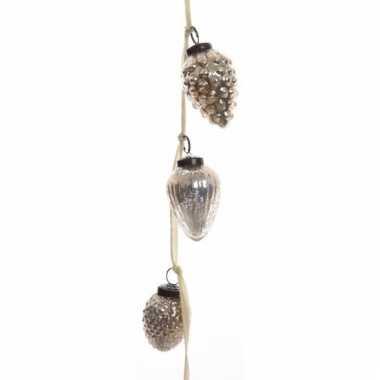 Kerstboomdecoratie dennenappel kerstballen slinger antiek 120 cm