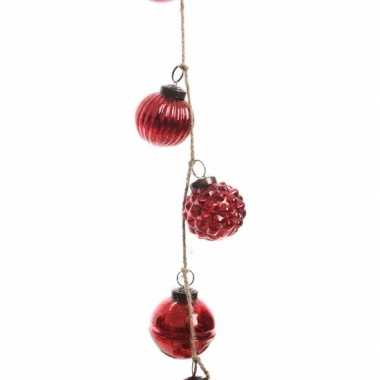 Kerstboomdecoratie kerstballen slinger rood 120 cm