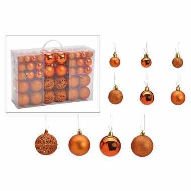 Kerstboomversiering 100x koperen plastic kerstballen