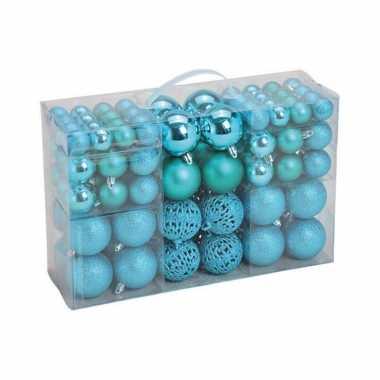 Kerstboomversiering 100x turquoise blauwe plastic kerstballen