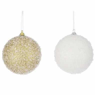 Kerstboomversiering 2x kerstballen met sneeuw 8 cm