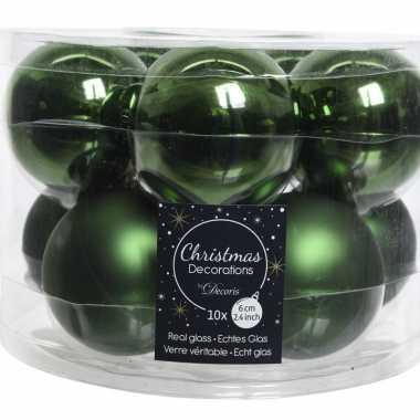 Kerstboomversiering donkergroene kerstballen van glas 6 cm 10 stuks