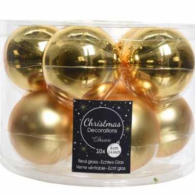 Kerstboomversiering gouden kerstballen van glas 6 cm 10 stuks