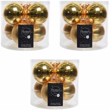 Kerstboomversiering gouden kerstballen van glas 8 cm 18x stuks