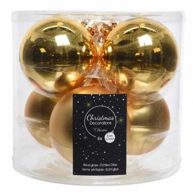 Kerstboomversiering gouden kerstballen van glas 8 cm 6 stuks