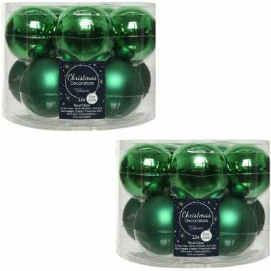 Kerstboomversiering kerst groene kerstballen van glas 6 cm 20x stuks