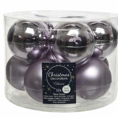 Kerstboomversiering lila paarse kerstballen van glas 6 cm 30x stuks