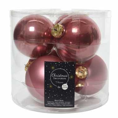 Kerstboomversiering oud roze kerstballen van glas 8 cm 6 stuks