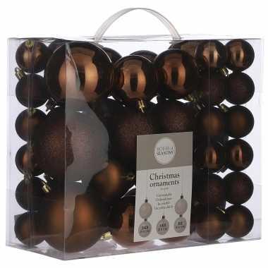 Kerstboomversiering pakket met 46x bruine plastic kerstballen