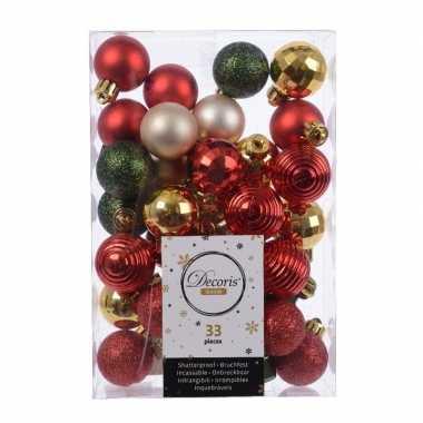 Kerstdecoratie kerstballen mix rood/ champagne/ goud en groen 33 deli