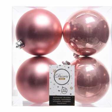 Kerstversiering kerstballen 8x oud roze kunststof 10 cm