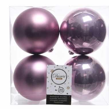 Kerstversiering kerstballen lila paars kunststof 10 cm