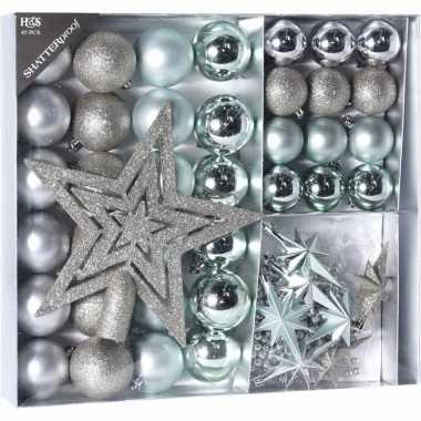 Kerstversiering kerstballen met piek ijsblauw/zilver 45 delig