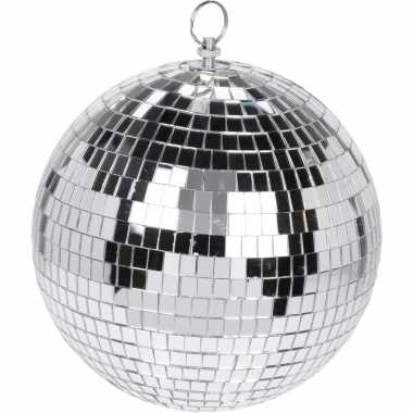Kerstversiering/kerstdecoratie zilveren decoratie disco kerstballen 18 cm