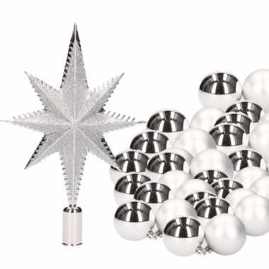Kerstversiering set zilver met 36 kerstballen en kerstster piek