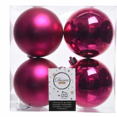 Knalroze kerstversiering kerstballen 8x kunststof 10 cm