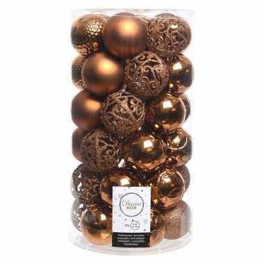 Koperen kerstballen set 6 cm 36 stuks