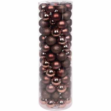 Koperen kerstballen set 6 cm