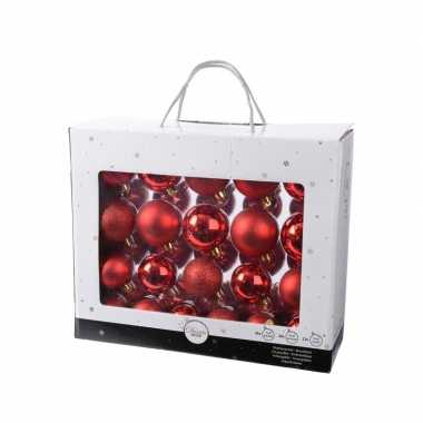 Kunststof kerstballen mix rood 42 delig glimmend en glitter