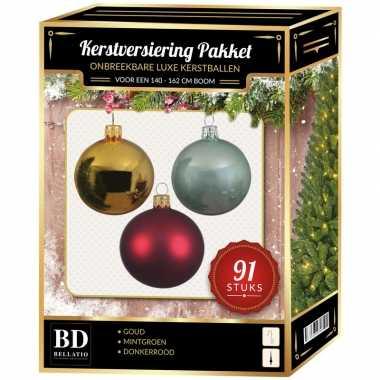 Licht gouden/donkerrode/mintgroene kerstballen pakket 91-delig voor 150 cm boom
