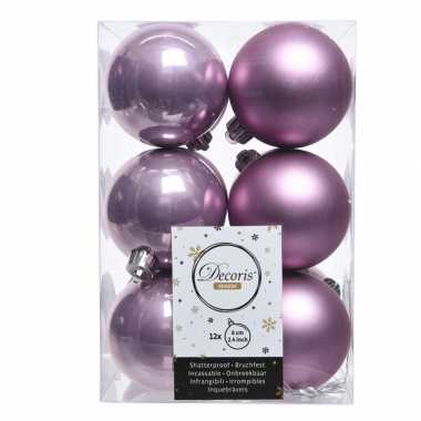 Lila paarse kerstballen 24x van kunststof 6 cm