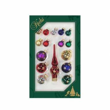 Luxe gekleurde glazen kerstballen en piek set voor mini kerstboom 16-dlg