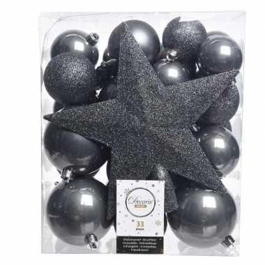 Luxe kerstballen pakket + piek antraciet kunststof 33 stuks
