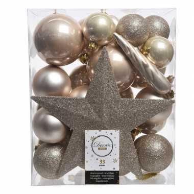 Luxe kerstballen pakket + piek champagne kunststof 33 stuks