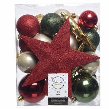 Luxe kerstballen pakket + piek dennen groen/goud/rood kunststof 33 st