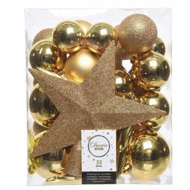 Luxe kerstballen pakket + piek goud kunststof 33 stuks