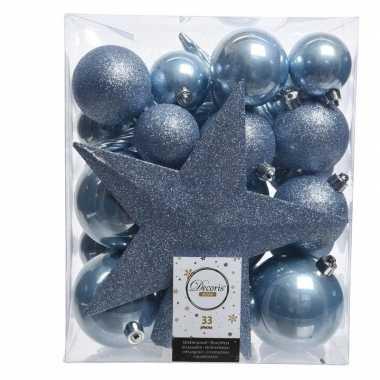 Luxe kerstballen pakket + piek ijsblauwkunststof 33 stuks