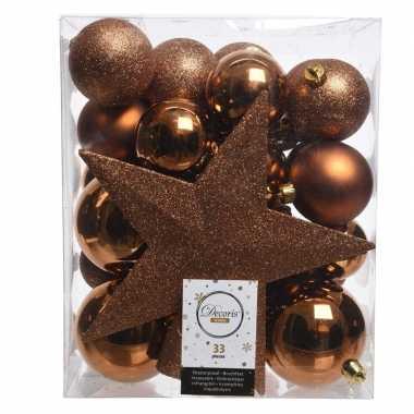 Luxe kerstballen pakket + piek koper kunststof 33 stuks