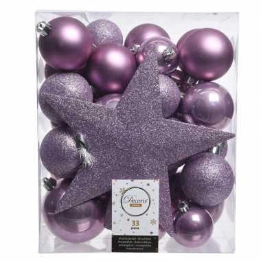 Luxe kerstballen pakket + piek lila kunststof 33 stuks